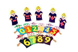 Fantoches da matematica - Feltro - 25 personagens - Emb. c/ zíper