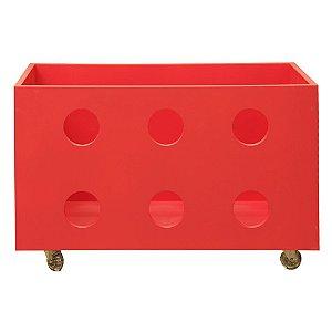 Caixa Organizadora Com Rodízios Vermelha