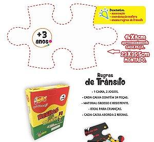 Jogo Educativo Quebra Cabeça Transito Itens de Segurança 24 Peças - Way