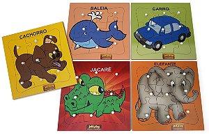 Brinquedo Educativo Quebra Cabeça Com Pinos Kit 5 Modelos - JOTTPLAY