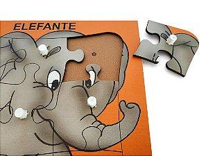 Brinquedo Educativo Quebra Cabeça Com Pinos Elefantes 9 Peças - JOTTPLAY