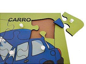 Brinquedo Educativo Quebra Cabeça Com Pinos Carro 9 Peças - JOTTPLAY