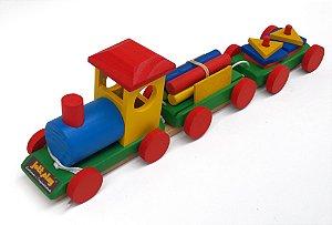 Brinquedo Educativo Trem Pedagogico Em Madeira - JOTTPLAY