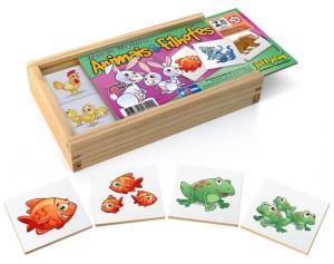 Jogo De Memória Animais E Seus Filhotes 40 Peças - Jottplay