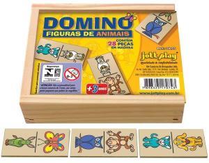 Brinquedo Educativo Dominó De Animais 28 Peças - JOTTPLAY