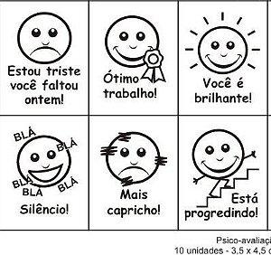 Carimbos Pedagógicos Psico Avaliação Expressoes Faciais - 10 Peças -Cx.Papel - Carlu