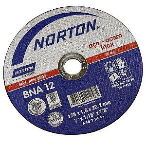 Disco de Corte 7'' 1,6mm para Inox BNA12 Norton