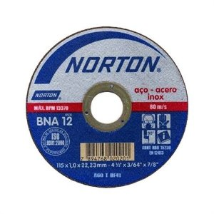 """Disco de Corte 4.1/2"""" para Inox BNA12 Norton"""