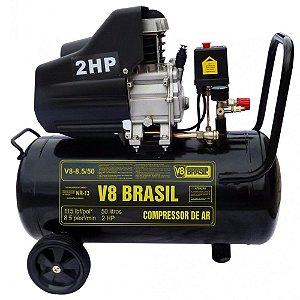 Compressor De Ar 8,5 Pés 50 Litros 127v - V8 Brasil
