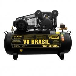Compressor De Ar 20 Pés 200 Litros 220v 5hp 175psi - V8 Brasil