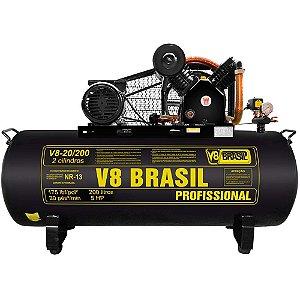 Compressor De Ar 20 Pés 200 Litros Trifásico 220/380v 175psi - V8 Brasil