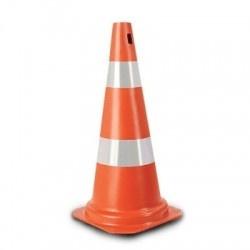 Cone de Transito Laranja 50cm Rigido com Faixa Refletiva - Plastcor