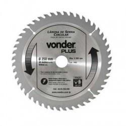 Disco de Serra Circular com 48 Dentes 250mm Metal Duro/Vídea - Vonder