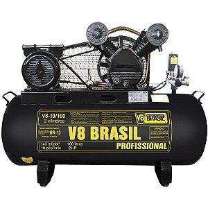 Compressor De Ar 10 Pés 100 Litros 220v 2hp 140psi - V8 Brasil