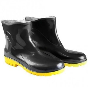 Bota de PVC Extra Curta Preta Solado Amarelo CA 38200  - Fujiwara