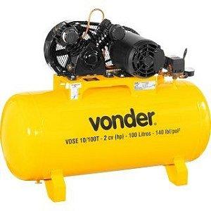 Compressor de Ar 2 Hp 100 litros Trifásico VDSE10/100T - Vonder