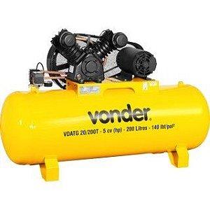 Compressor de Ar 5 Hp 200 litros Trifásico VDATG20/200T - Vonder