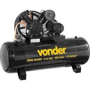 Compressor de Ar Alta Pressão 5hp 200 litros 20 pés Trifásico VDON20/200T - Vonder