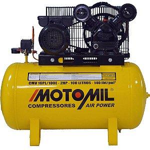 Compressor de Ar 10 Pés 100 litros CMV-10Pl/100 220/380V Volts Trifásica Air Power - Motomil