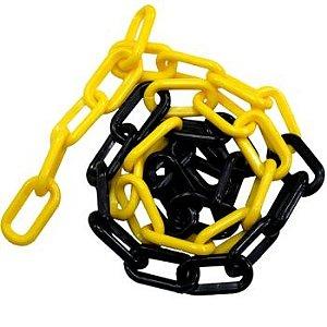 Corrente Plastico elo Grande Preto/Amarelo 10mm - Plastcor