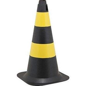 Cone de Sinalização 75cm Preto e Amarelo - Plastcor
