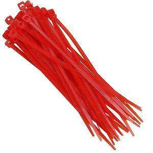 Abraçadeira Em Nylon Vermelha 100 X 2,5 Mm Com 20 Unidades