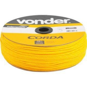 Corda Multifilamento Trançada 4mm x 360m amarela em carretel - Vonder