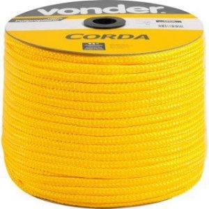 Corda Multifilamento Trançada 8mm x 258m amarela em carretel - Vonder