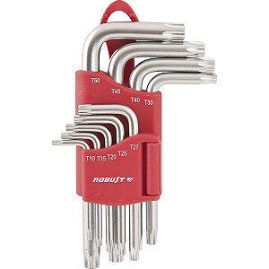 Jogo de chaves torx tipo L T10 T50 com guia 430TXB 9 Robust