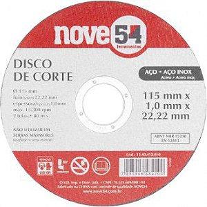 Disco de corte 115mm x 1,0mm x 22,23mm DC 954 Nove54