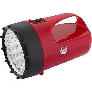 Lanterna 19 Leds Recarregável Vermelho - Worker