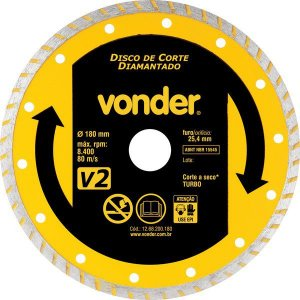 Disco De Corte Diamantado 180 Mm Turbo V2 Vonder