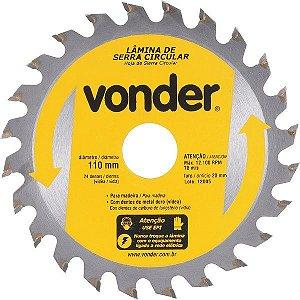 Lâmina De Serra Circular 110mm X 20mm 24 Dentes Vonder