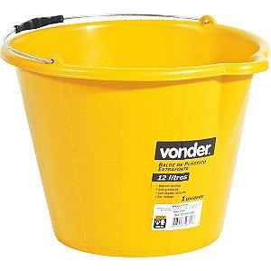 Balde De Plástico Extra Forte 12 Litros Amarelo Vonder