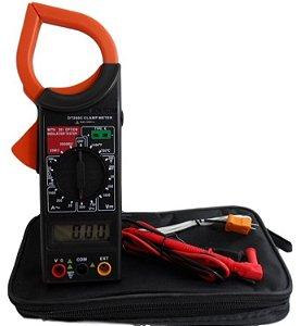 Alicate amperímetro digital, estojo, bateria e termômetro integrado.