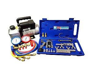 Kit Ferramentas Refrigeração Bomba Vácuo 6 Duplo + Manifold