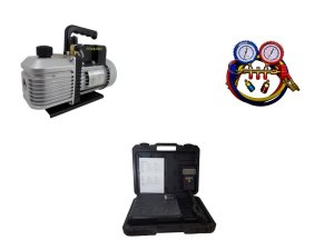 Kit Refrigeração Automotiva, Bomba Vácuo, Balança, Manifold e Engates
