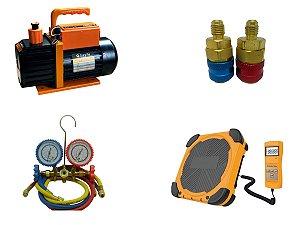 Kit Refrigeração Automotiva, bomba vácuo, balança, manifold, engates