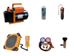 Kit Refrigeração Automotiva, manifold, Bomba vácuo, balança