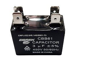 Capacitor 3 Uf Ventilador 450vac P/ Ar Condicionado Split