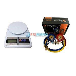 Manifold Refrigeração R600 R290 + Balança 7kg Digital