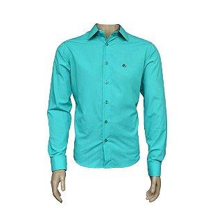 Camisa Slim Masculina Verde Com Detalhe