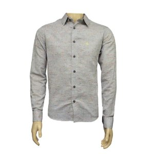 Camisa Slim Masculina Cinza Maquinetada