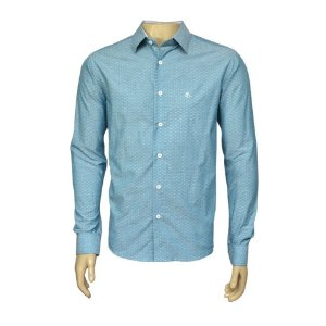Camisa Slim Masculina Azul Claro Maquinetada