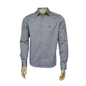 Camisa Slim Cinza Jeans Com Detalhe
