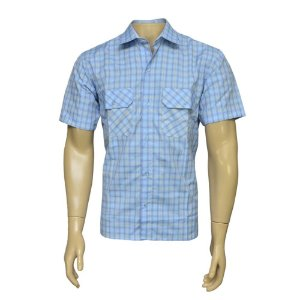 Camisa Sport Masculina Xadrez Azul Claro