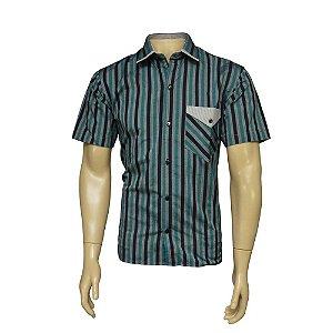 Camisa Sport Masculina Verde Listrada