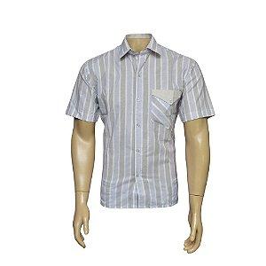 Camisa Sport Masculina Azul Listrada