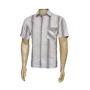 Camisa Sport Masculina Branca Listrada