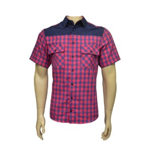 Camisa Sport Masculina Vermelha Xadrez Com Detalhe